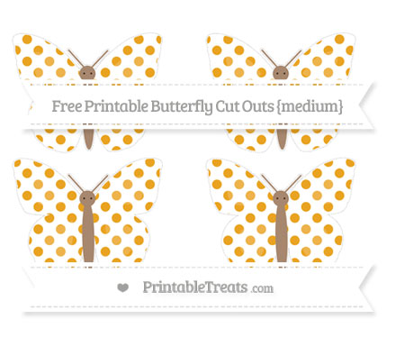 Free Marigold Dotted Pattern Medium Butterfly Cut Outs