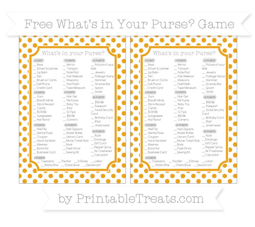 Free Marigold Dotted Pattern What's in Your Purse Baby Shower Game