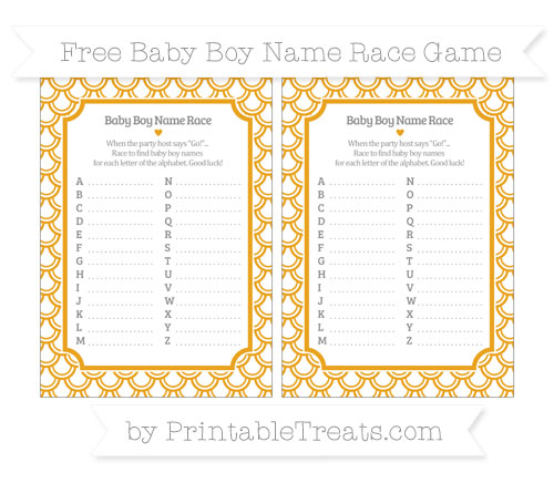 Free Marigold Fish Scale Pattern Baby Boy Name Race Game