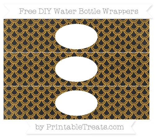 Free Marigold Fish Scale Pattern Chalk Style DIY Water Bottle Wrappers