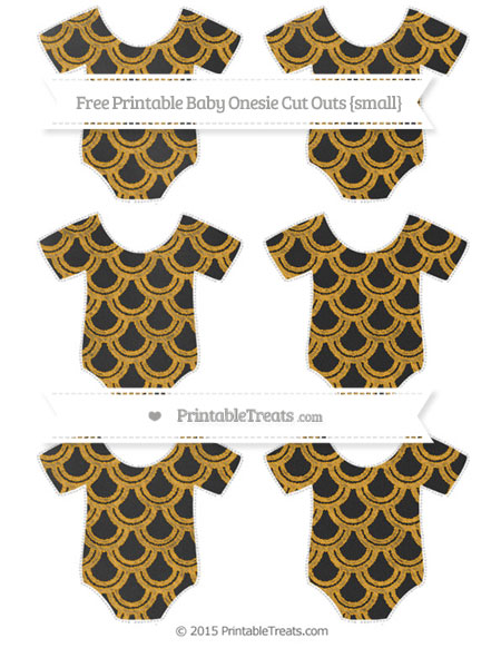 Free Marigold Fish Scale Pattern Chalk Style Small Baby Onesie Cut Outs