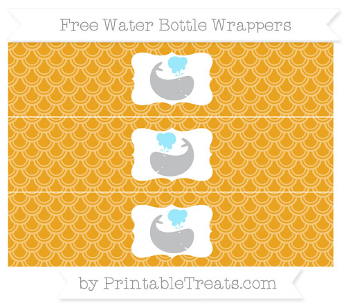 Free Marigold Fish Scale Pattern Whale Water Bottle Wrappers