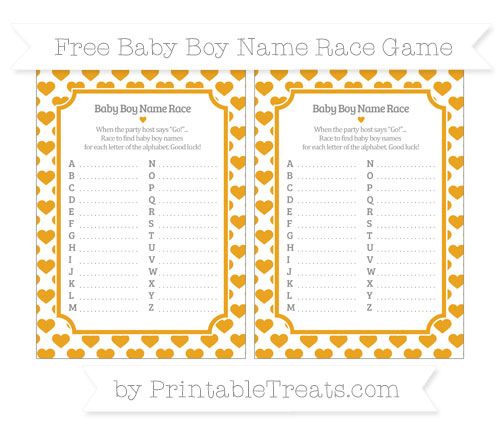 Free Marigold Heart Pattern Baby Boy Name Race Game