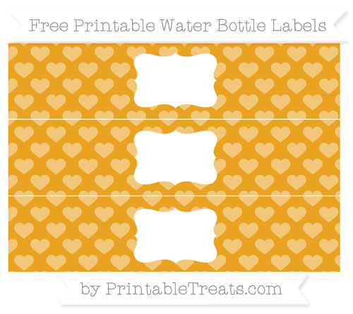 Free Marigold Heart Pattern Water Bottle Labels