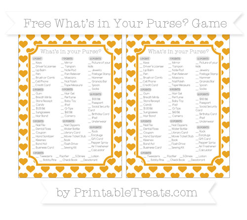 Free Marigold Heart Pattern What's in Your Purse Baby Shower Game