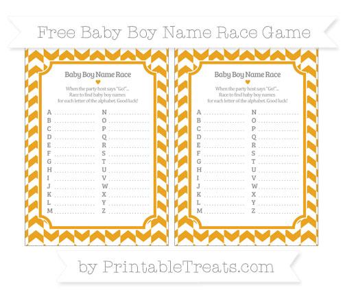 Free Marigold Herringbone Pattern Baby Boy Name Race Game