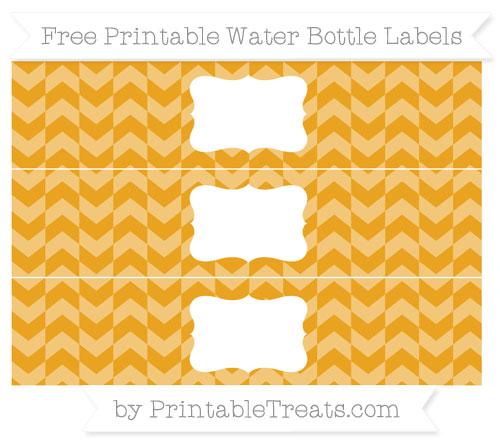 Free Marigold Herringbone Pattern Water Bottle Labels