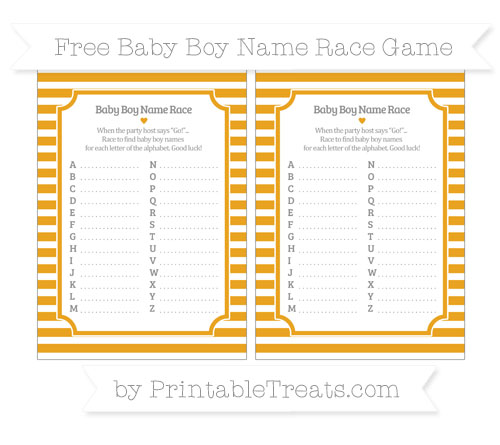 Free Marigold Horizontal Striped Baby Boy Name Race Game