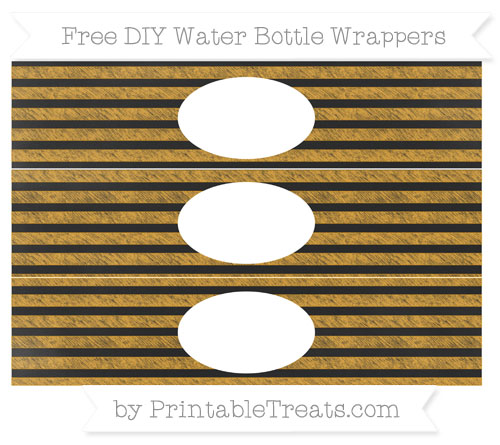 Free Marigold Horizontal Striped Chalk Style DIY Water Bottle Wrappers