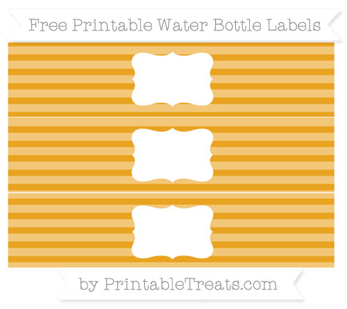Free Marigold Horizontal Striped Water Bottle Labels