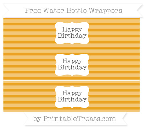 Free Marigold Horizontal Striped Happy Birhtday Water Bottle Wrappers