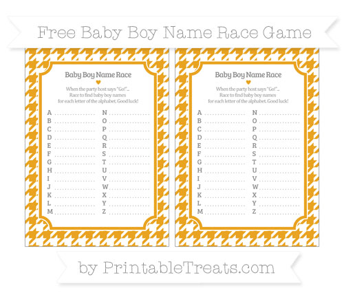 Free Marigold Houndstooth Pattern Baby Boy Name Race Game
