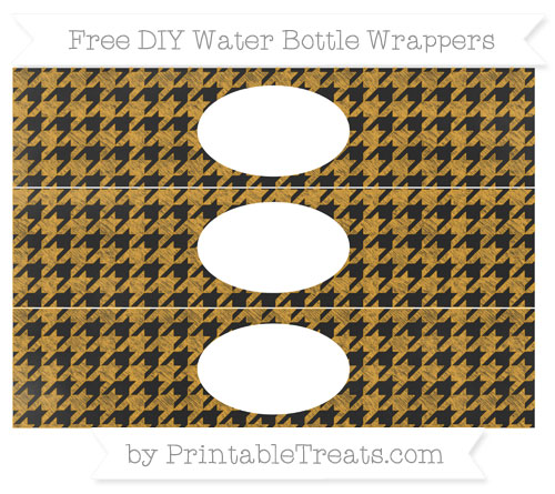 Free Marigold Houndstooth Pattern Chalk Style DIY Water Bottle Wrappers
