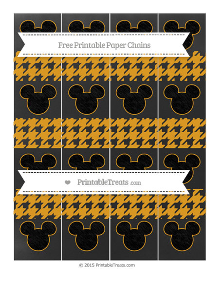 Free Marigold Houndstooth Pattern Chalk Style Mickey Mouse Paper Chains