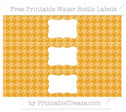 Free Marigold Houndstooth Pattern Water Bottle Labels