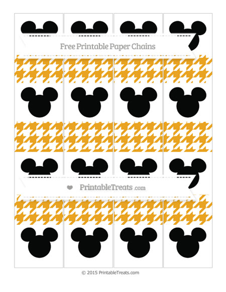 Free Marigold Houndstooth Pattern Mickey Mouse Paper Chains