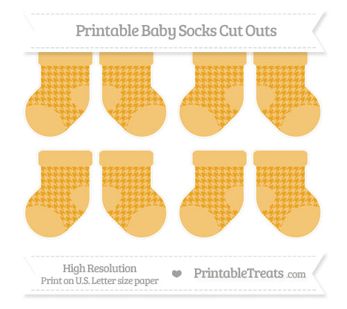 Free Marigold Houndstooth Pattern Small Baby Socks Cut Outs