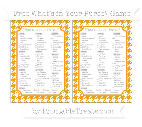 Free Marigold Houndstooth Pattern What's in Your Purse Baby Shower Game