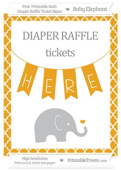 Free Marigold Moroccan Tile Baby Elephant 8x10 Diaper Raffle Ticket Sign