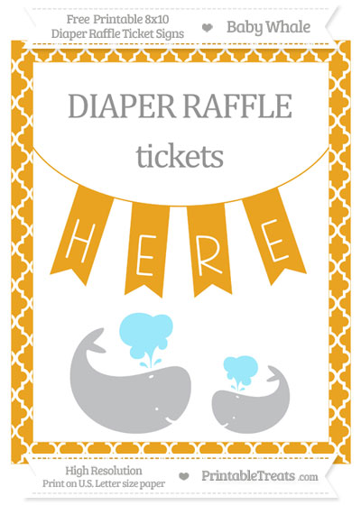 Free Marigold Moroccan Tile Baby Whale 8x10 Diaper Raffle Ticket Sign
