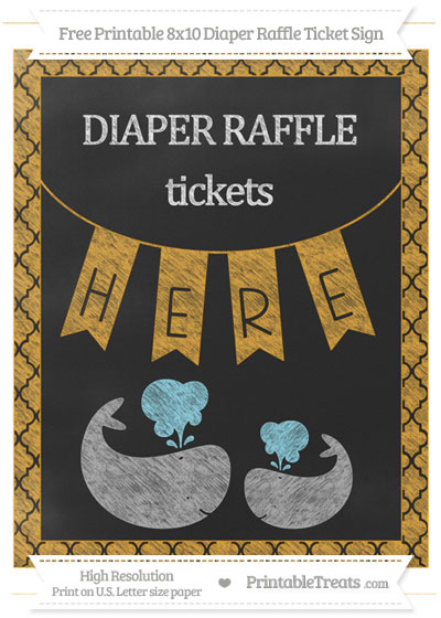 Free Marigold Moroccan Tile Chalk Style Baby Whale 8x10 Diaper Raffle Ticket Sign
