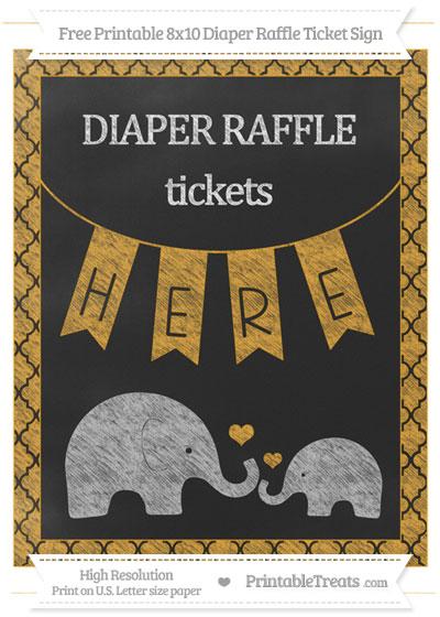 Free Marigold Moroccan Tile Chalk Style Elephant 8x10 Diaper Raffle Ticket Sign
