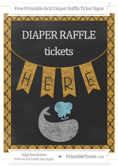 Free Marigold Moroccan Tile Chalk Style Whale 8x10 Diaper Raffle Ticket Sign