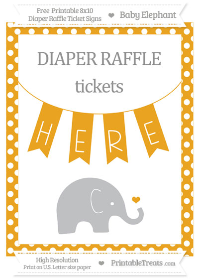 Free Marigold Polka Dot Baby Elephant 8x10 Diaper Raffle Ticket Sign