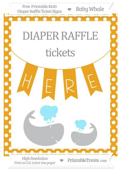 Free Marigold Polka Dot Baby Whale 8x10 Diaper Raffle Ticket Sign
