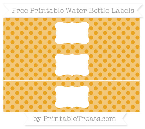 Free Marigold Polka Dot Water Bottle Labels