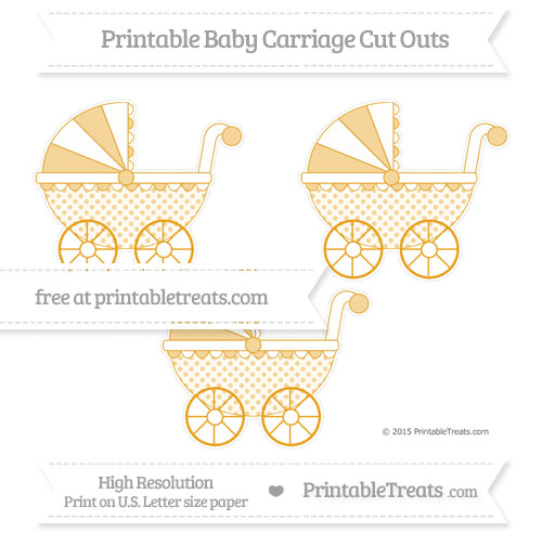 Free Marigold Polka Dot Medium Baby Carriage Cut Outs