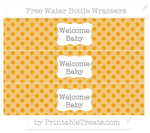 Free Marigold Polka Dot Welcome Baby Water Bottle Wrappers