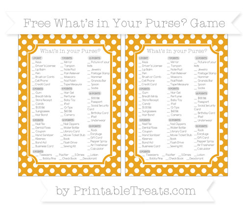Free Marigold Polka Dot What's in Your Purse Baby Shower Game