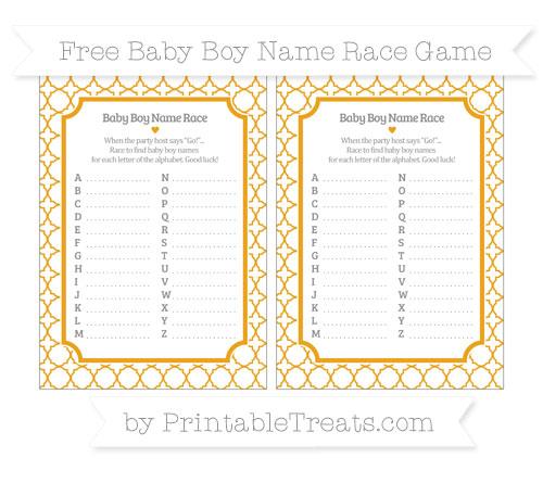 Free Marigold Quatrefoil Pattern Baby Boy Name Race Game