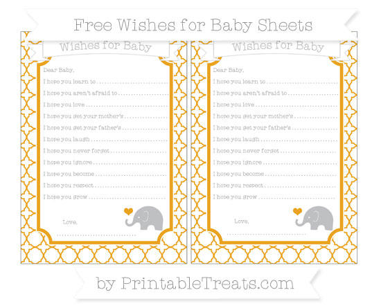 Free Marigold Quatrefoil Pattern Baby Elephant Wishes for Baby Sheets