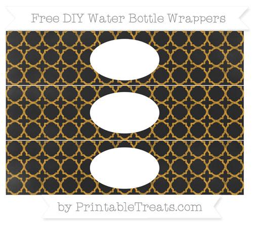 Free Marigold Quatrefoil Pattern Chalk Style DIY Water Bottle Wrappers