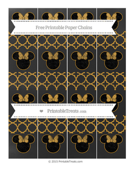Free Marigold Quatrefoil Pattern Chalk Style Minnie Mouse Paper Chains