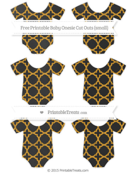 Free Marigold Quatrefoil Pattern Chalk Style Small Baby Onesie Cut Outs
