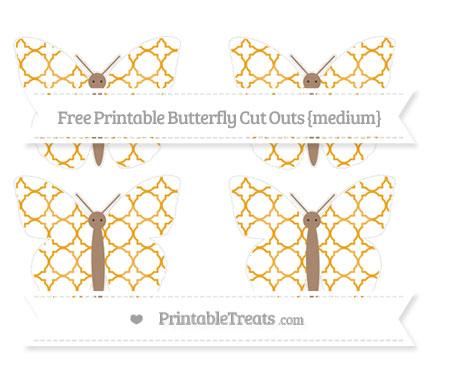 Free Marigold Quatrefoil Pattern Medium Butterfly Cut Outs