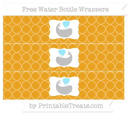 Free Marigold Quatrefoil Pattern Whale Water Bottle Wrappers