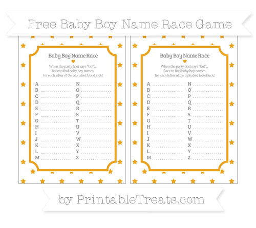 Free Marigold Star Pattern Baby Boy Name Race Game