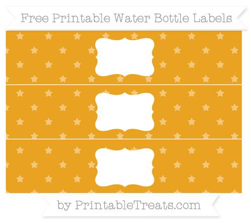 Free Marigold Star Pattern Water Bottle Labels