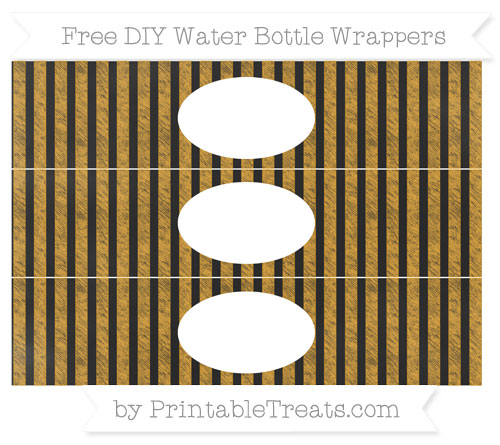 Free Marigold Striped Chalk Style DIY Water Bottle Wrappers