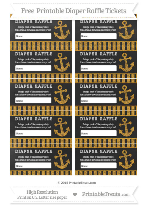 Free Marigold Striped Chalk Style Nautical Diaper Raffle Tickets