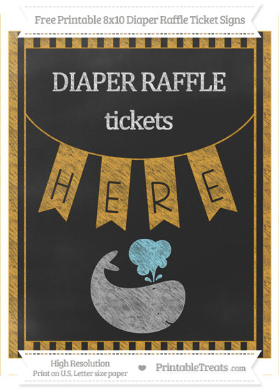 Free Marigold Striped Chalk Style Whale 8x10 Diaper Raffle Ticket Sign