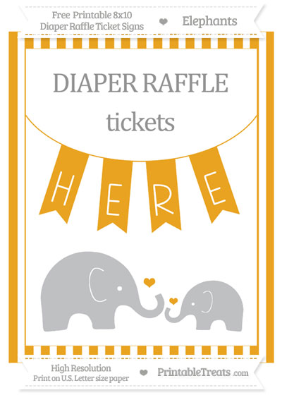 Free Marigold Striped Elephant 8x10 Diaper Raffle Ticket Sign