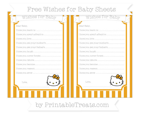 Free Marigold Striped Hello Kitty Wishes for Baby Sheets