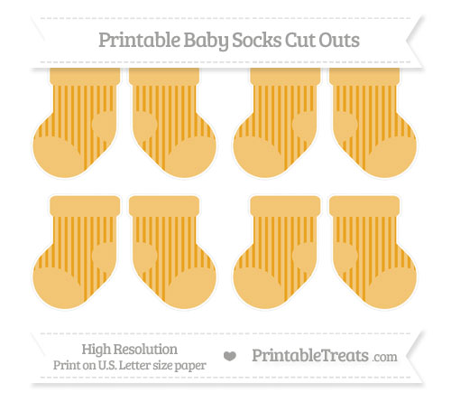 Free Marigold Striped Small Baby Socks Cut Outs