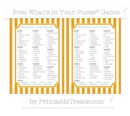 Free Marigold Striped What's in Your Purse Baby Shower Game
