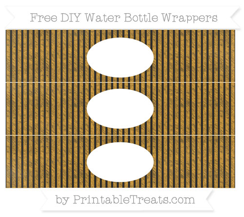 Free Marigold Thin Striped Pattern Chalk Style DIY Water Bottle Wrappers